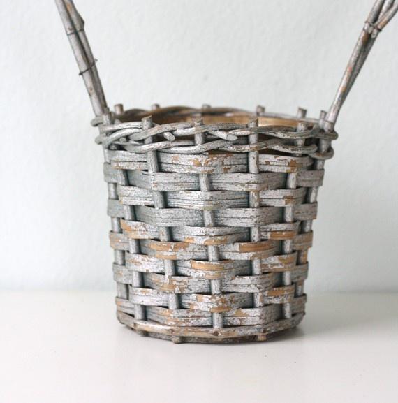 Vintage funeral bouquet basket