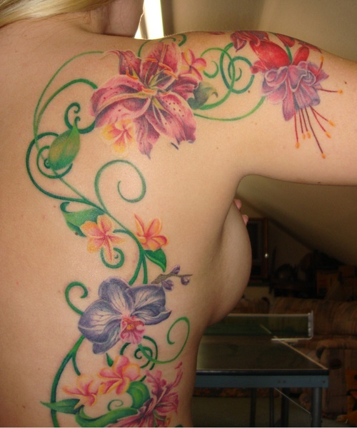 Scrolling Vines and Flowers ~ Tattoo idea