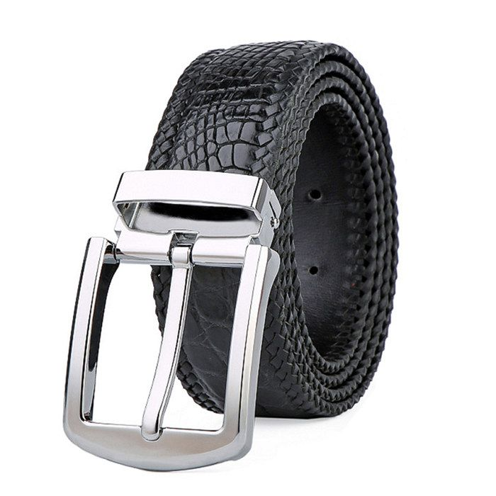 Luxury Genuine CROCODILE Leather Skin MEN/'S Belt Black