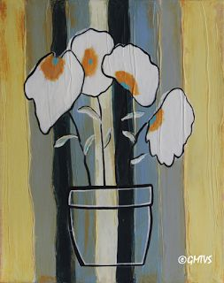 Painting and Texture: Acrylic Painting: Flowers on Wood Contemporary Art