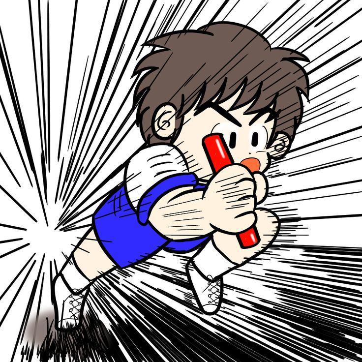 運動会で猛烈なラストスパートを掛ける男の子(カラー)
