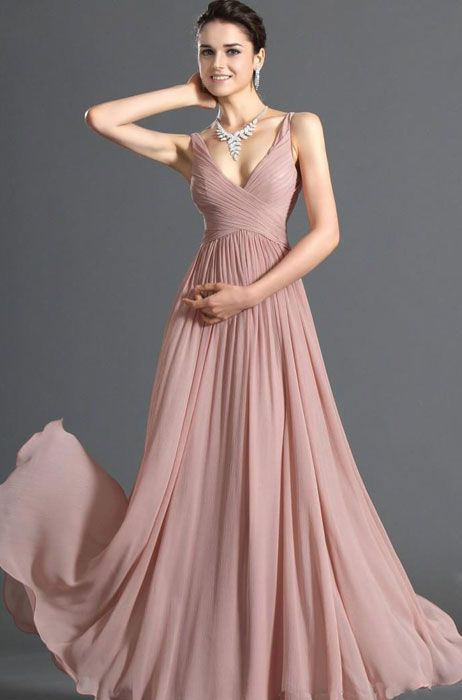 light dusty rose evening dress