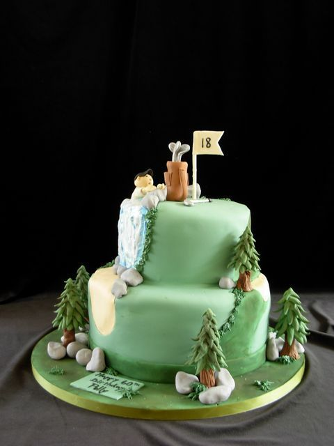 golf cake - This cake was a two tier fondant covered cake.  All accents were fondant. THanks for looking.