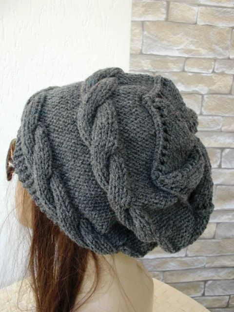 Womens Hat   Knit hat   Cable knit hat   Slouchy Hat   by Ebruk, $57.00