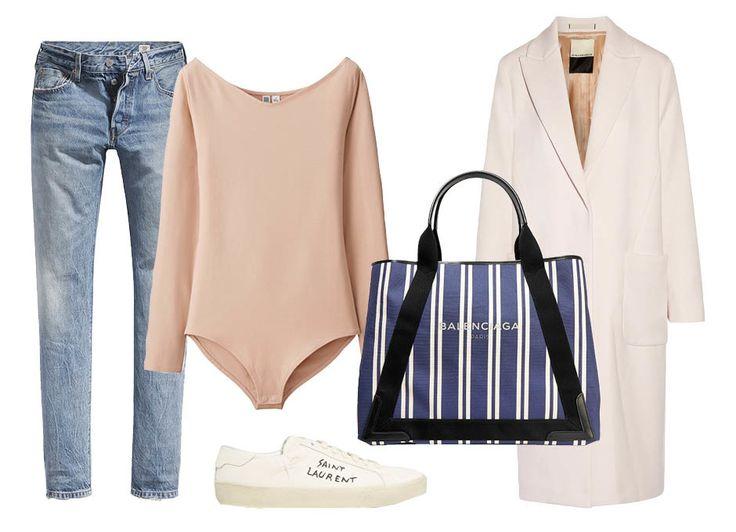 Джинсы Levi's, боди Uniqlo, кеды Saint Laurent, сумка Balenciaga, пальто By Malene Birger