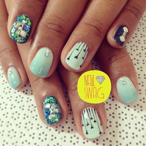 nail-swag: THE SPARKLE MER NAIL for Danielle at... - http://goo.gl/LIKo32