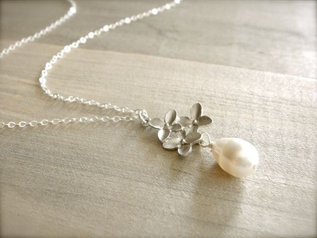 Cherry Blossom Necklace in White Gold - Bride, Bridal party, Bridesmaid, Wedding, Mom, Mother's Day, Gift.