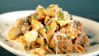 Mushroom and Mozzarella Pasta Bake with Mini-Meatballs Recipe | The Chew - ABC.com