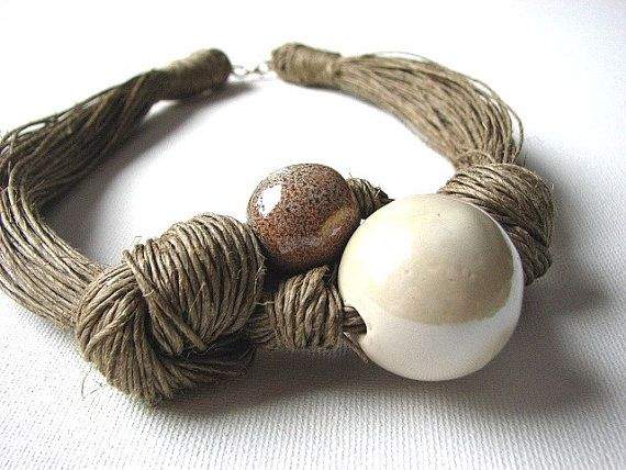 **2***/// vis ***Ceramic Cream linen necklace by GreyHeartOfStone on Etsy, $28.00