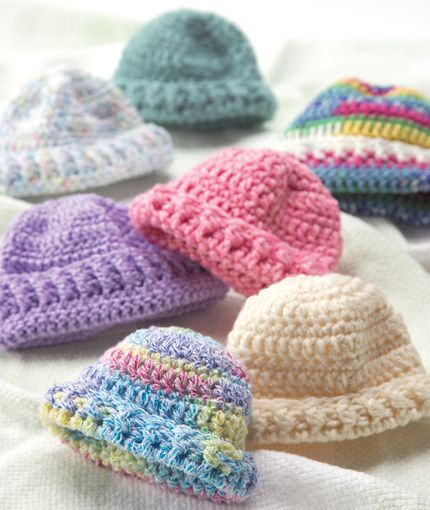 Preemie Hats Free Knit and Crochet Patterns from Red Heart Yarns