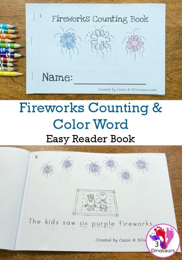 Free Fireworks Themed Counting & Color Word Easy R…