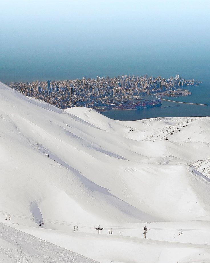 A retouched image showing the capital Beirut, as seen from the ski slopes of Faraya, Lebanon. (Mike Karam) https://pow.photos/2018/lebanon-pow-8-14-february/