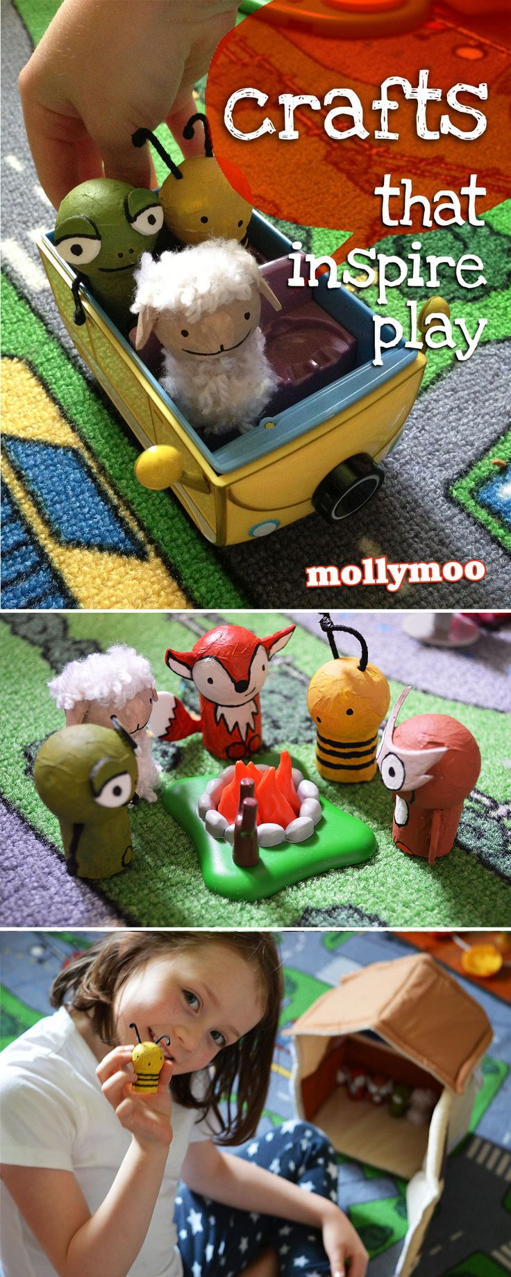 Crafts that inspire play - Wine Cork Animals   MollyMoo