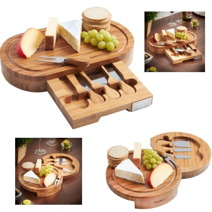 Slide Out Bamboo Cheese Board Knife Fork Set Cheese Lover Cutting Serving Tray  #VonShef