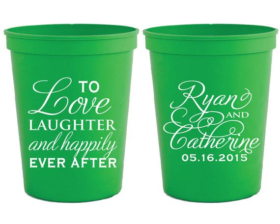 Personalized Plastic Cups Wedding Favor Cups Monogrammed