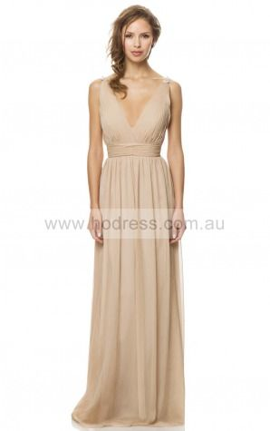 A-line Deep V-neck Empire Sleeveless Floor-length Evening Dresses zeh002--Hodress