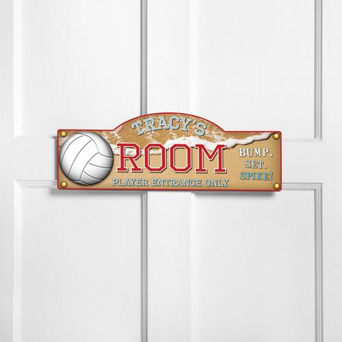 custom beach volleyball door sign bump set spike kids bedroom door signs - Volleyball Bedroom Decor