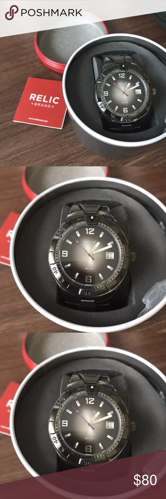 Men's Relic watch NWT Dark silver Brand new. Never worn. 2 links were taken out for sizing and are provided. Really nice looking! Relic Accessories Watches