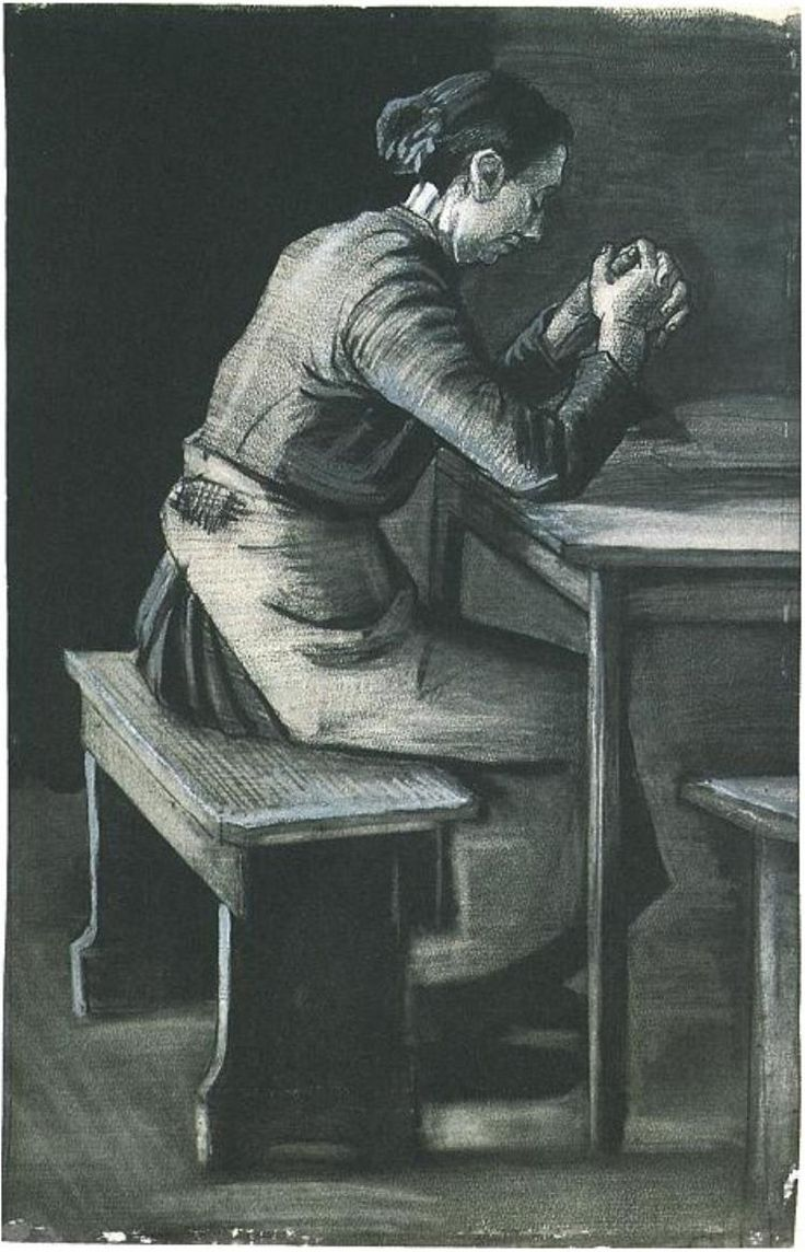 Woman Praying by Vincent Van Gogh - 1743 - Drawing
