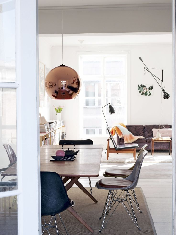 Tom Dixon 'Copper Pendant' and Flos '265' - that's a lot of lighting beauty in one room