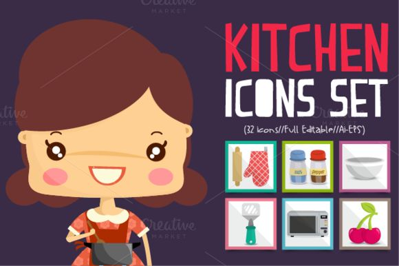 Check out Kitchen Icons Set by himoki on Creative Market