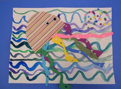 """1st Grade, Octopus/Jellyfish, painting and collage, based on the book """"I'm the Best Artist in the Ocean"""" and on Eric Carle's illustrations"""