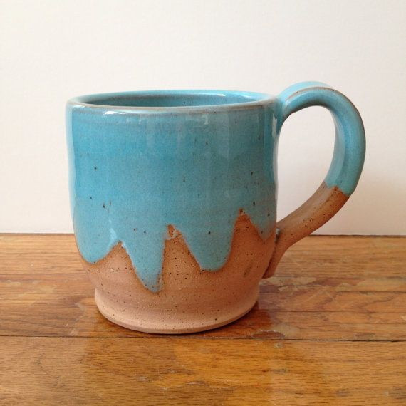 Turquoise Ceramic Coffee Mug made to order light by TheLuluBird
