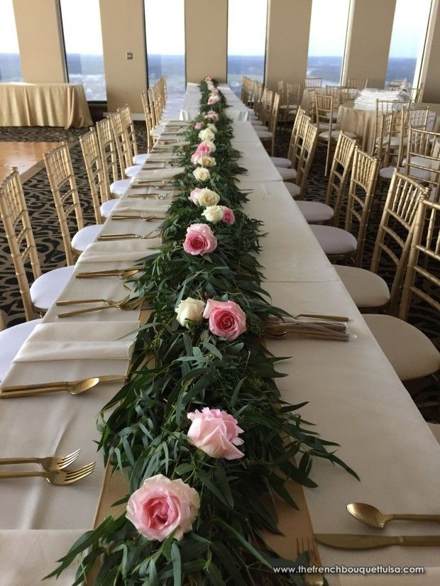 Long Centerpiece Garland Table Runner With Pink And Cream