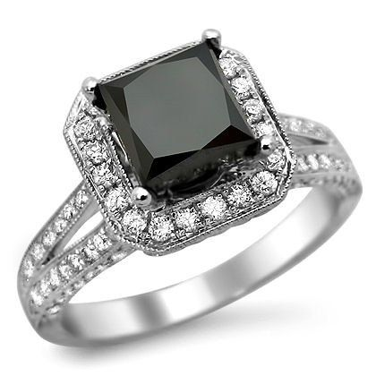 2.85ct Black Princess Cut Diamond Engagement Ring 18k White Gold. $1,995.00, via Etsy.