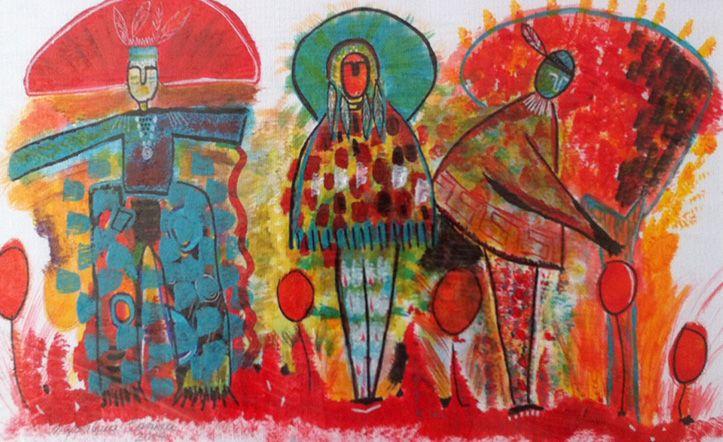 MAGDALENA CORREA C. // Diseñadora de interiores, muebles y artista autodidacta. Inspirada en la naturaleza y en la búsqueda del origen, nacen los indígenas, plasmando la esencia de su convivencia con la madre tierra, sus tradiciones, ritos y creencias. Email: magdalenacorrea5@hotmail.com, #art #arte #chile #painting #paint #color #pintura #indios #indians #ancestors #ancestros #visualart #visual