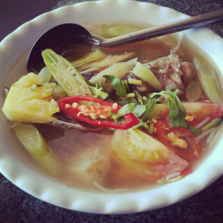 Sour fish ( or beef ) Vietnamese style soup