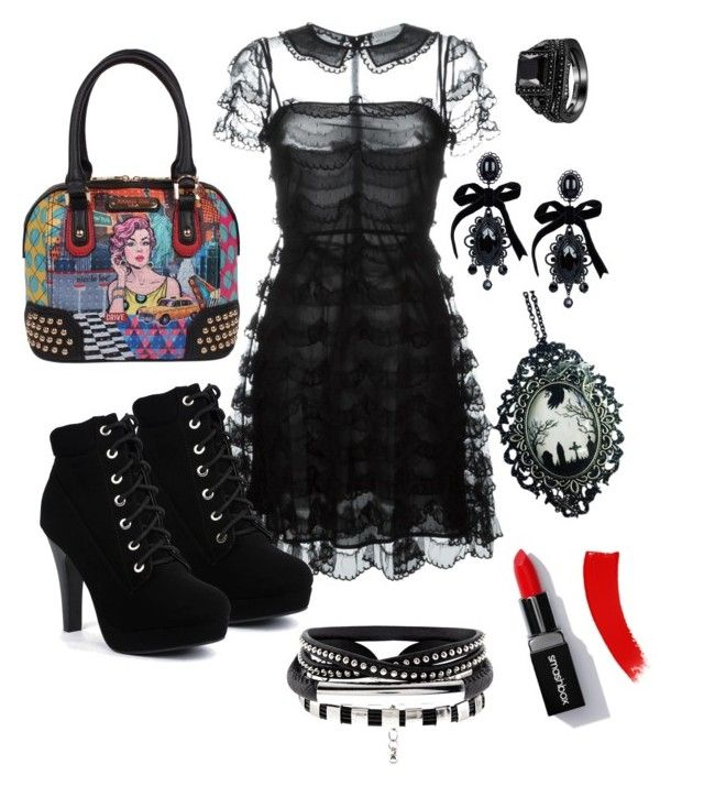 """""""Nice in black 😉"""" by nina-vik on Polyvore featuring RED Valentino, Dsquared2 and Curiology"""