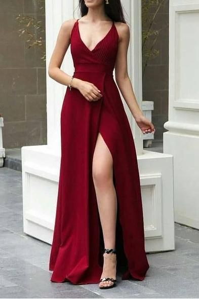 Red Spaghetti Straps V-neck Prom Evening Dress With Slit