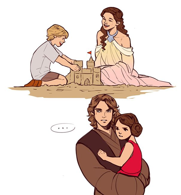 "Padmè and Luke constructing sandcastles ... but Anakin and Leia don't like sand, because it's ""rough"" and ""gets everywhere"""