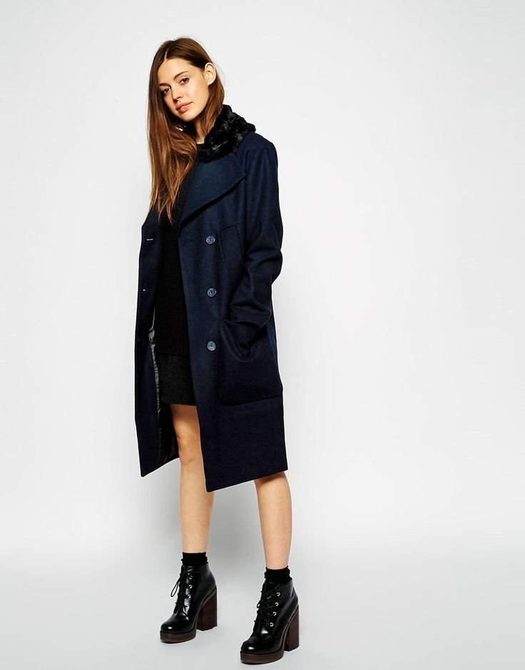 ASOS Coat In Cocoon Fit With Faux Fur Collar