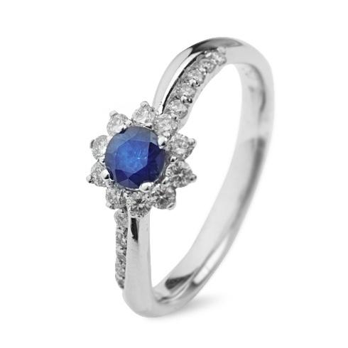Inel cu safire si diamante C059