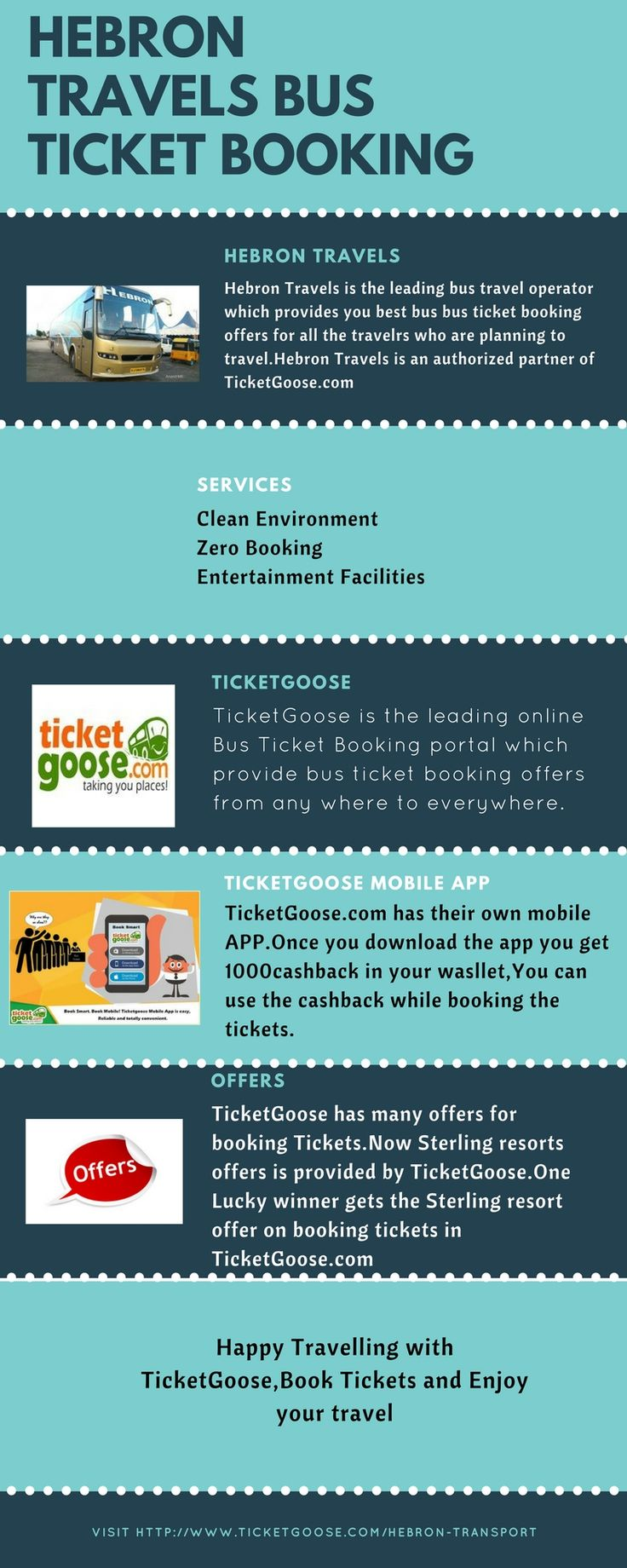Herbon Travels provides the bus ticket booking to the major cities, Book the tickets for Hebon Travels at ticket goose at the best fare with best service  http://www.ticketgoose.com/hebron-transport