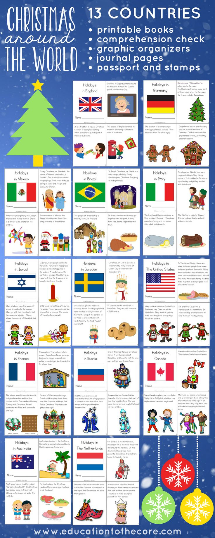 Christmas Around the World Unit. Complete with printable readers, passport and passport stamps, writing journal, graphic organizers! Great for all your Holidays Around the World Celebrations!