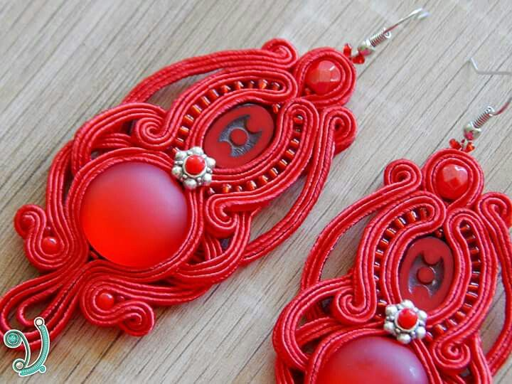 Red soutache earring
