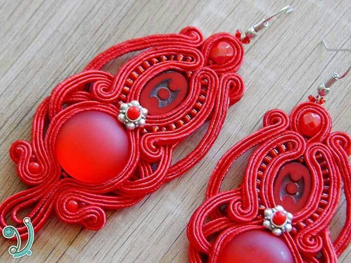 Red soutache earring