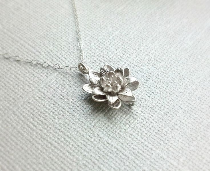 Small Silver Lotus Flower Necklace,Simple Everyday Necklace,Sterling Silver Chain, Water Lily Flower Pendant