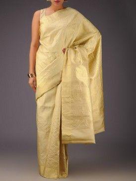 Cream-Golden Kanjivaram Silk Saree