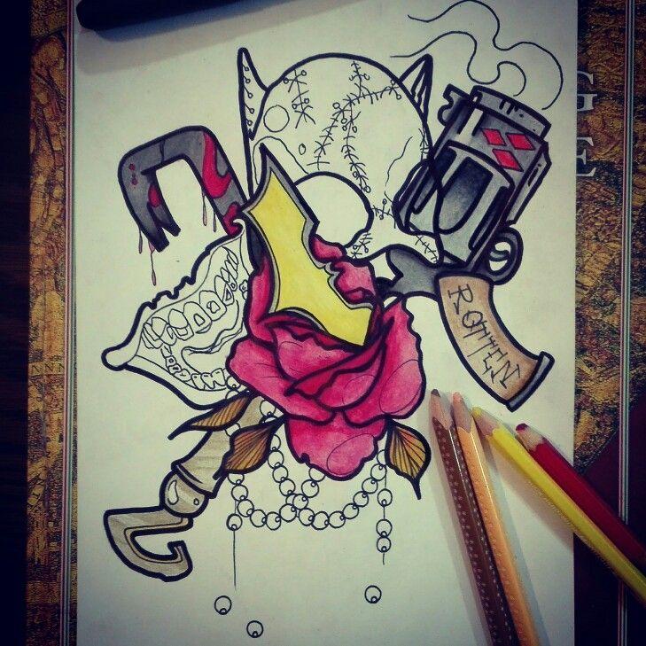 #batman #joker #neotraditional #necklace #gun #rotten #mouth #rose #flower #gotham #tattoo #ink # inprogress