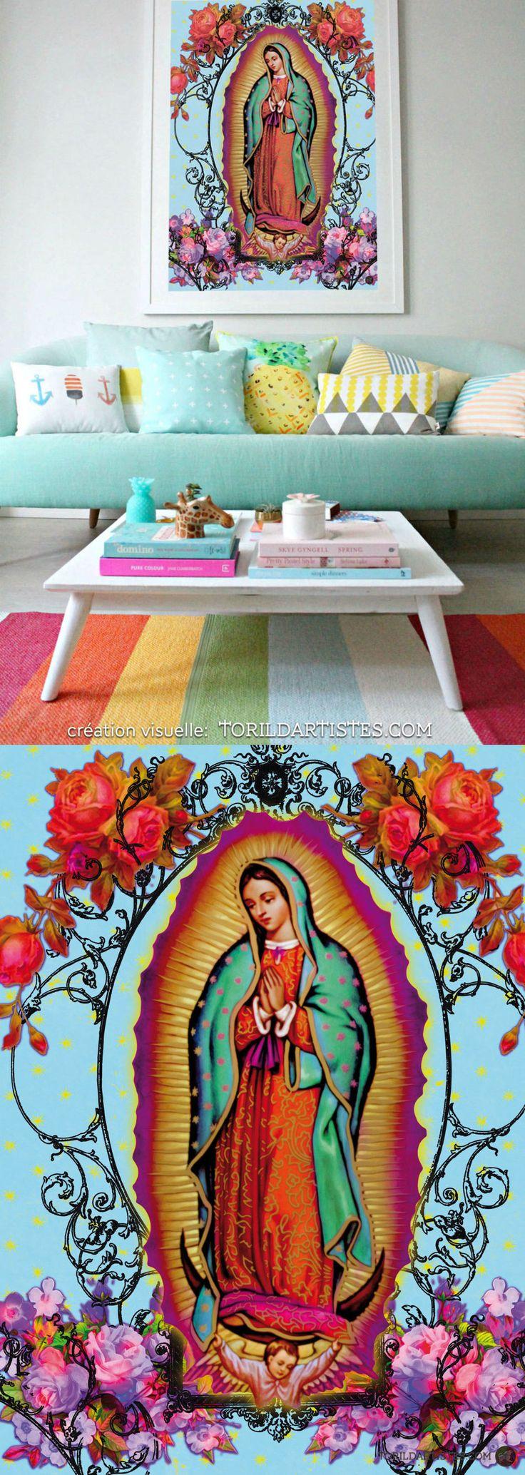 Affiche tirage limité, 125g, Notre Dame de Guadalupe, Sainte Patrône du Mexique - Art, Art mural, décoration, Art Print, affiche, Illustration, dessin, peinture, numérique,oeuvre