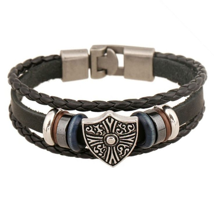 Handmade Jewelry Men Genuine Leather Bracelet Vintage Shield Charm Bracelets Bangles Korean Male Accessories 2015 Summer Style