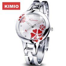 Kimio donne guarda clover famose signore di marca fashion bracciale in acciaio inossidabile donne orologio al quarzo fortunato orologi da polso per le donne(China (Mainland))