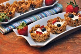 Almond-Honey Granola Cups With Yogurt and Berries:    Adapted from: Eating Well …