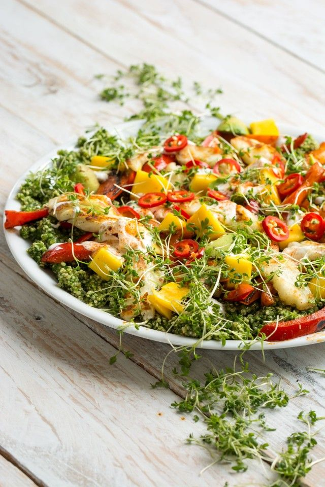 a deliciously fresh halloumi and quinoa salad with all the colours of the rainbow herby