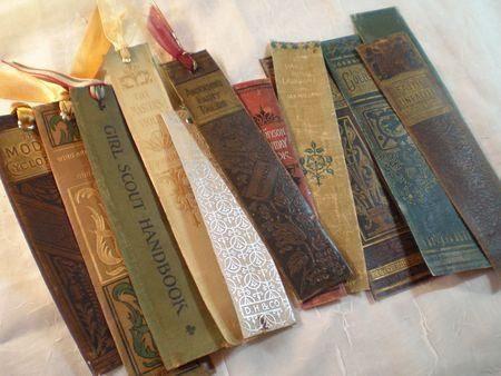 """Here's a very creative idea for """"re-purposing"""" old book spines into cool bookmarks:    {Great for unwanted old books that are falling apart...}"""