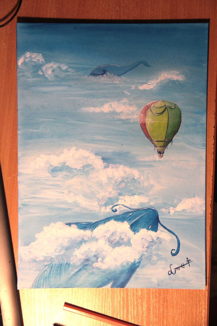 My old #painting of #whales in the #sky. #art #acrylicpainting
